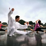 Morning Tai Chi on cruise, Halong Bay
