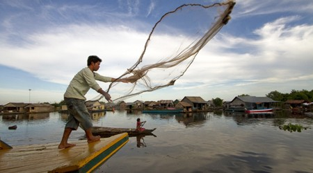 The Lake is the largest fresh water in South East Asia. Its dimension changes depending on the monsoon and dry season.