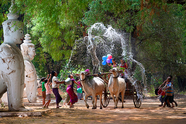 Myanmar Thingyan Water Festival in the countryside