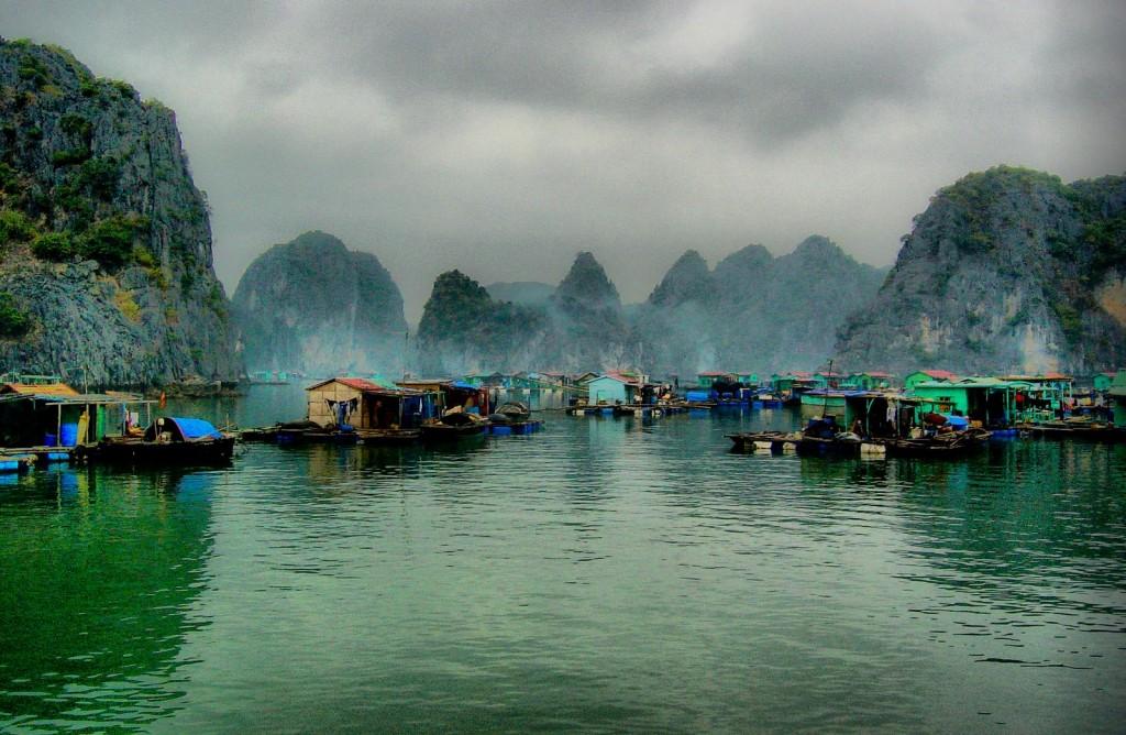 Floating fishing village, Halong Bay, Vietnam.