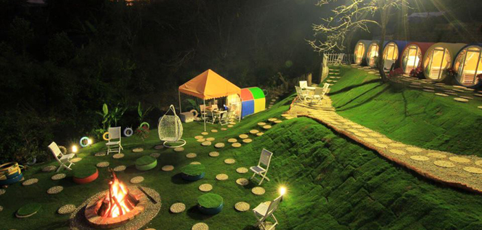 Dalat Discovery Home at Night with Campfire