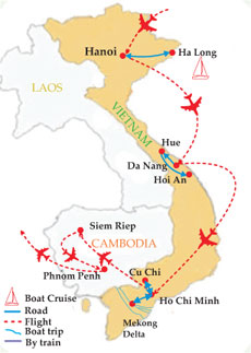 vietnam cambodia itinerary 3 weeks map