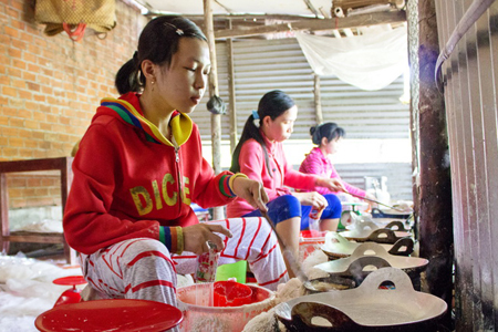 Rice paper handcraft in Mekong Delta
