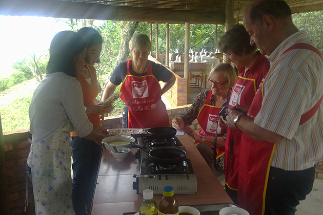 Cooking class in Thuy Bieu village