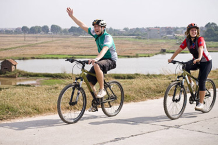 Cycling through the countryside of Hanoi