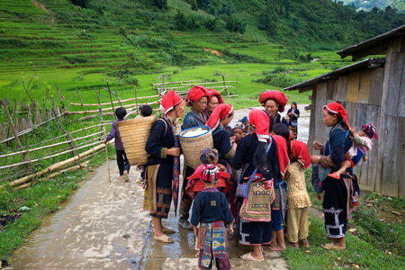 Red Dzao ethnic group in Ta Phin village.Sapa, Lao Cai province, Vietnam