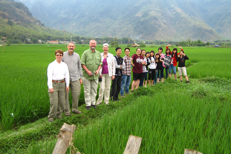 Student group in rice paddy fields in Mai Chau