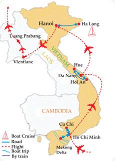 Vietnam Laos Explorer Tour - 18 Days Map