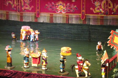 Water Puppet Performance in Thang Long Water Puppet Theater, Hanoi