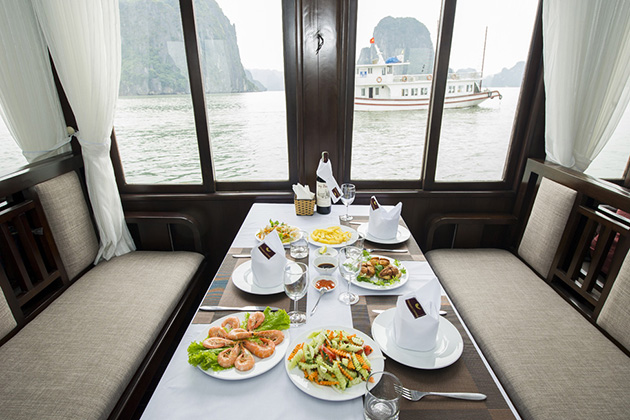 halong bay seafood for lunch 12 day vietnam tour
