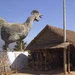 A statue of chicken in Lat Village