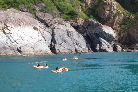 Swimming in the beautiful bay