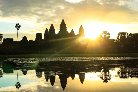 Sunrise against Angkor Wat