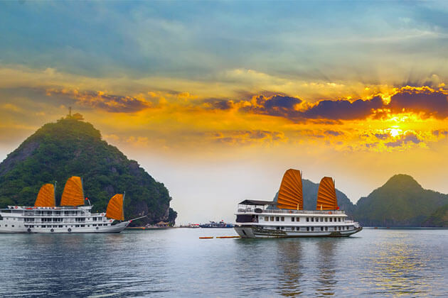 An old junk on Halong Bay