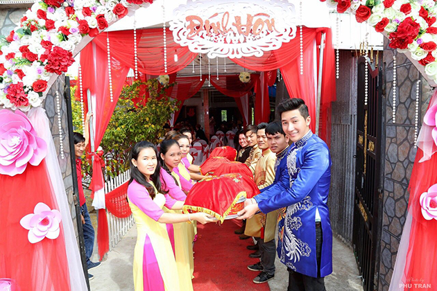 during the engagement wedding ceremony in Vietnam