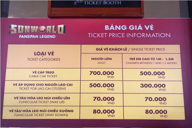 fansipan cable car ticket price