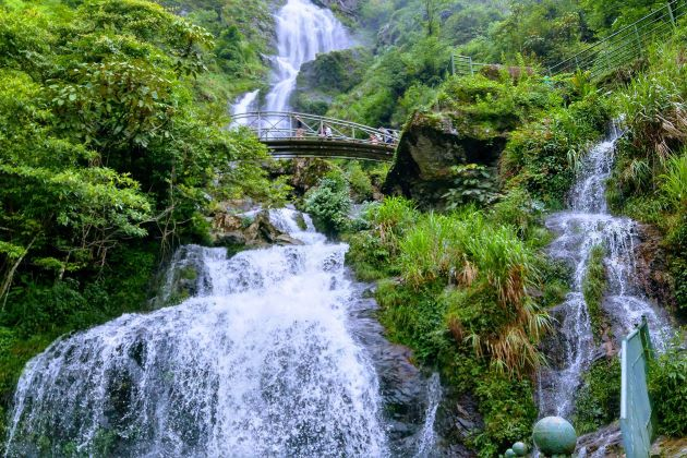 silver waterfall in sapa vietnam cambodia tours