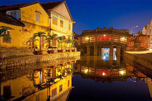 Japanese Bridge Pagoda at Night in Hoi An