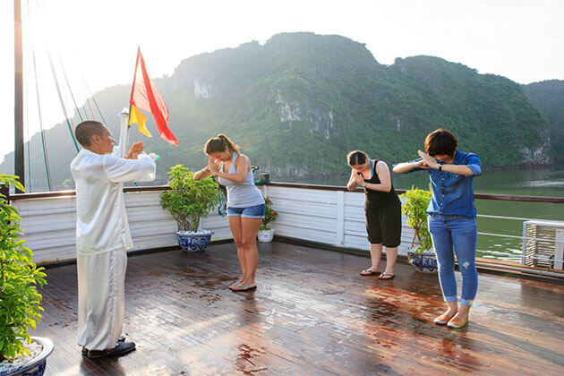 Taichi class on Cruise in Halong Bay